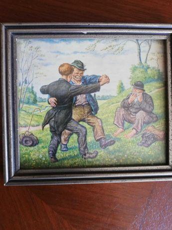 """Картина в деревянной рамке под стеклом """"Танцы"""",""""Кавалер"""" Германия"""