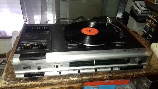 Aparelho Gira-discos de vinil com radio e cassetes e colunas pionner