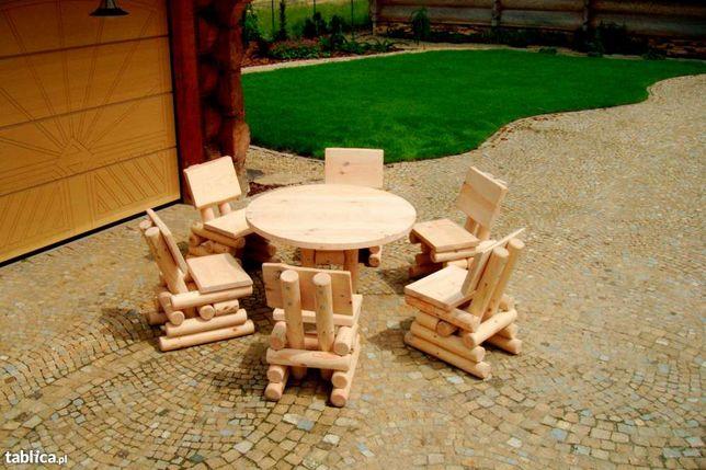 Meble ogrodowe,drewniane huśtawki stół okrągły dostawa cały kraj