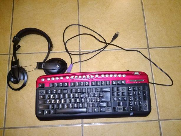 Клавиатура на запчасти и наушники