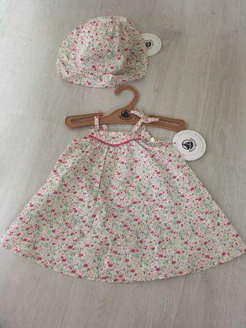 NOWY komplecik Petit Bateau sukienka+kapelusz