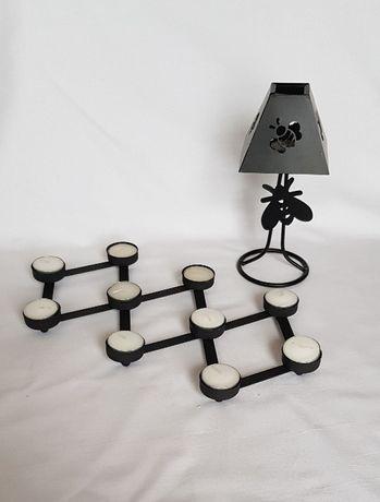 Świeczniki, na podgrzewacze, czarny, komplet