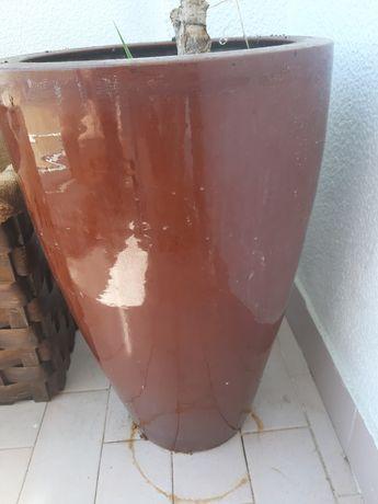 Vaso cerâmica alto castanho