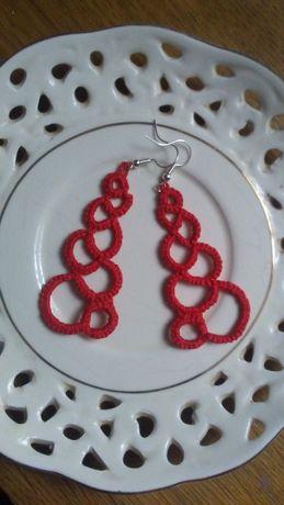 Czerwone kolczyki rękodzieło frywolitka DIY
