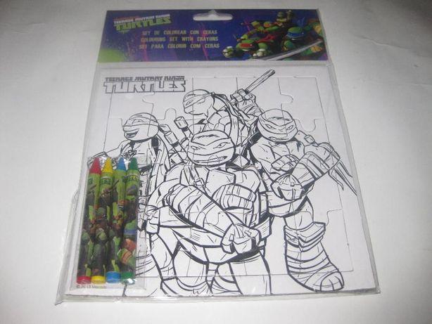 "Puzzle ""Tartarugas Ninja"" c/ 4 Lápis de Cera para Colorir. Selado!"