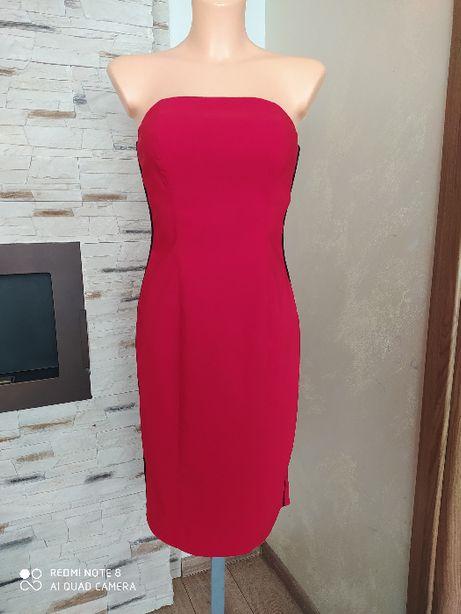 Czerwona elegancka seksowna sukienka r. XS-S-M ołówkowa z lampasami