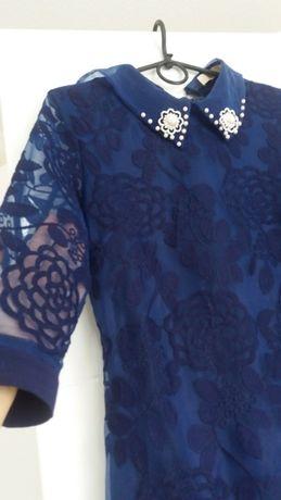 Женское синее платье в отличном состоянии (M-L 44-46)