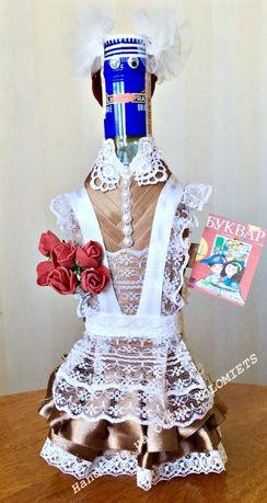 Украшение бутылки,подарок,учёба платье,форма,цветы,школа,handmade,деко