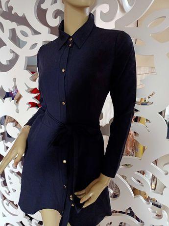 Nowa Sukienka Cinamoon Classy czarna wiązana złote guziki s