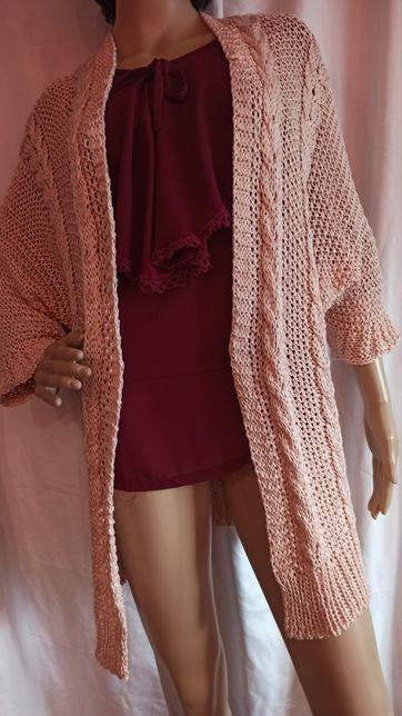 Kardigan sweter pudrowy róż Moda ITALY M L XL