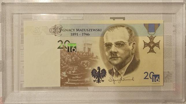 Banknot testowy Matuszewski + kapsuła Leuchtturm