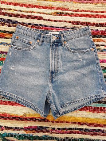 Zara spodenki szorty jeansowe w stylu mom fit wysoki stan rozmiar M ja