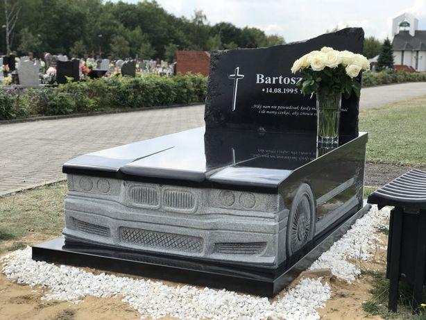 Nagrobek samochód czarny granit nagrobek auto pomnik z granitu