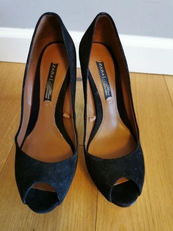 Buty na obcasie ZARA, czarne, rozmiar 37