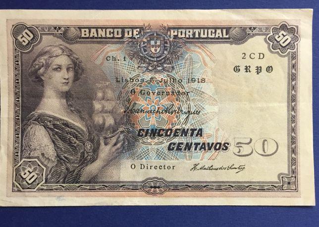 nota 50 Centavos 1918