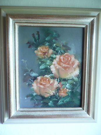 obraz olejny róże sygnowany certyfikat H.L.Rahmen rama kwiaty
