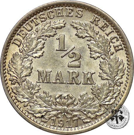Niemcy 1/2 marki 1917 r. A