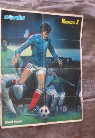 Jogador Futebol Poster Michel Platini, Pintado, (frente e verso)