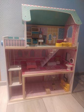 Duży drewniany domek dla lalek z meblami i windą! Możliwa wysyłka