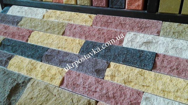 Плитка фасадная под кирпич, облицовочная, цокольная, рваный камень