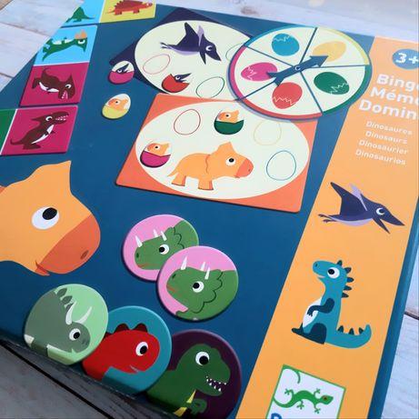 набор настольных игр Динозавры Djeco мемо, домино и бинго