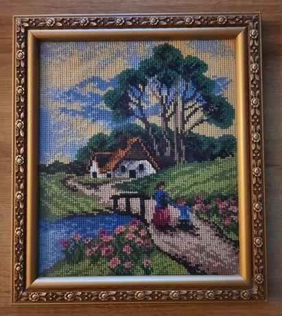 """Obraz ręcznie wyszywany """"Domek nad rzeką"""""""