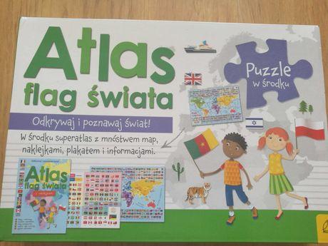 Pakiet Atlas flag świata. Atlas + plakat z mapą + puzzle