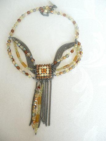 Naszyjnik kolia koraliki złoto bursztyn kryształki