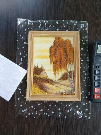 Картина с рамкой, натуральный янтарь