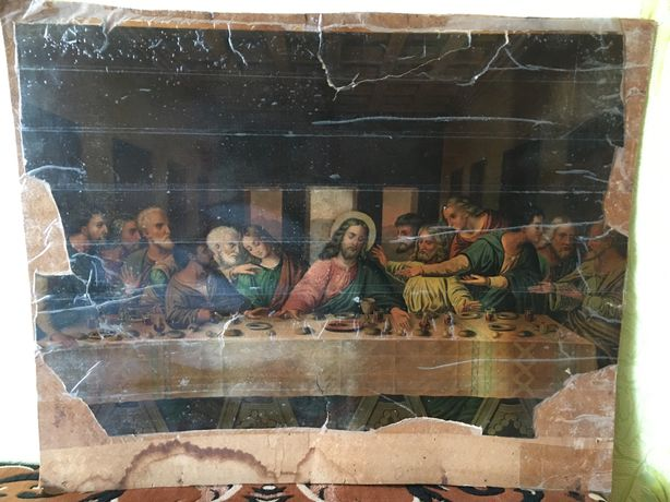 Старинная картина Тайная Вечеря Леонардо да Винчи