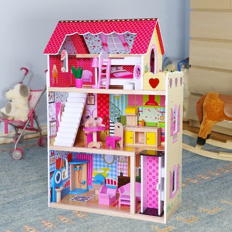 Домик кукольный 17шт.мебели+подарок! Кукольный домик для кукол барби