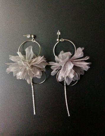 Kolczyki ŚLUBNE wizytowe HandMade z kwiatem srebrne