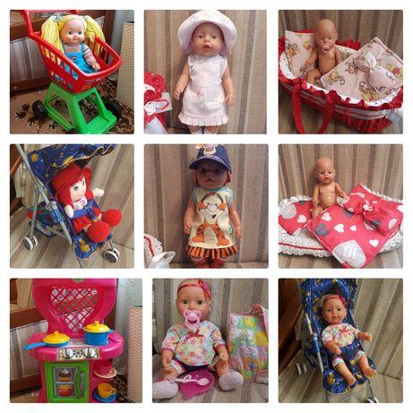 Пакет игрушек.Пупс Baby Born,переноска.Кухня,тележка,кукла.Палатка.