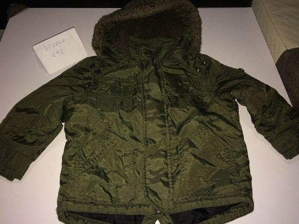 świetna kurta zimowa chłopięca george r 92 zielona + czapka i szal