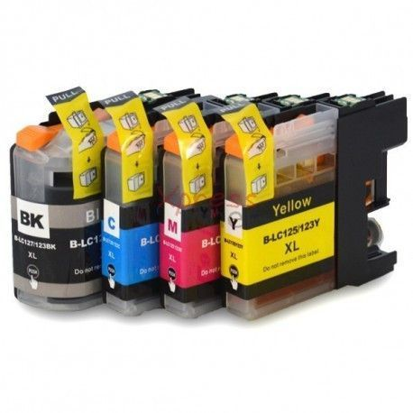 Conjunto 4 tinteiros compatíveis Brother - LC123 -BK/C/M/Y