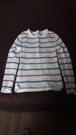 Sweter biały w stylu marynarskim