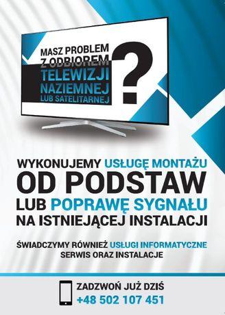 Montaż ustawianie anten Sat DVBT Naziemna Serwis Sprzętu