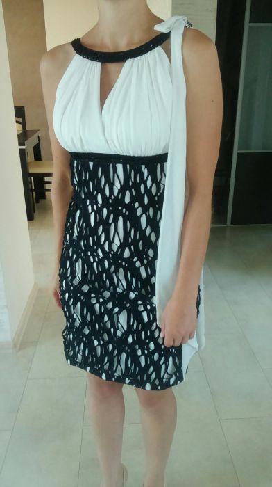 Sukienka ecru-czarna 36 Nierada - image 1