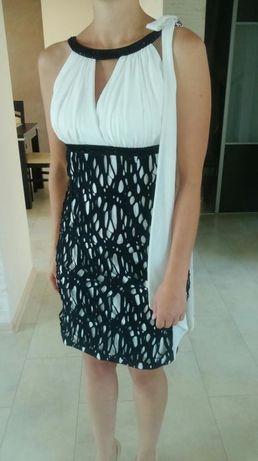 Sukienka ecru-czarna 36