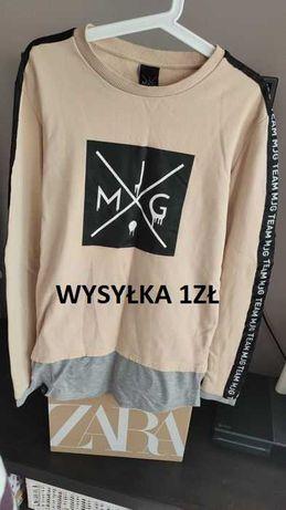 Bluza sukienka tunika MJG r. S brzoskwiniowa z lampasem długa