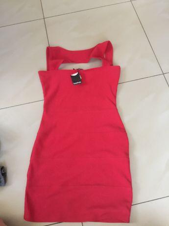 sukienka mini czerwona boohoo