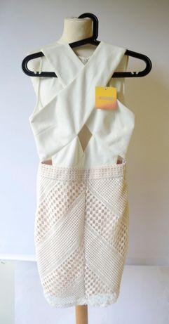 Sukienka NOWA Missguided Ażurowa Biała S 36 Wycięcia Slim Zara H&M C&A