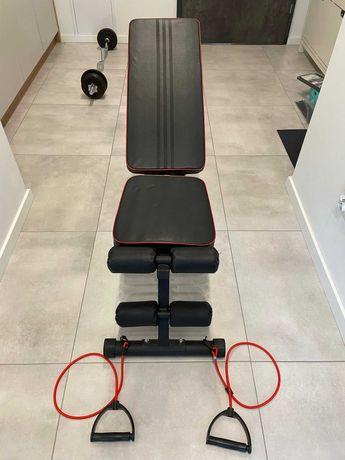 Ławeczka do ćwiczeń, regulowana płaska skos + gumy
