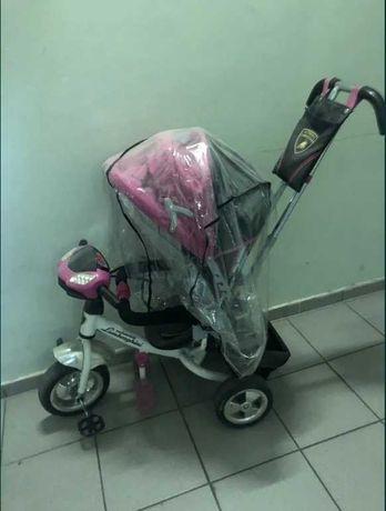 Велосипед трехколесный детский с родительской ручкой бампер фары