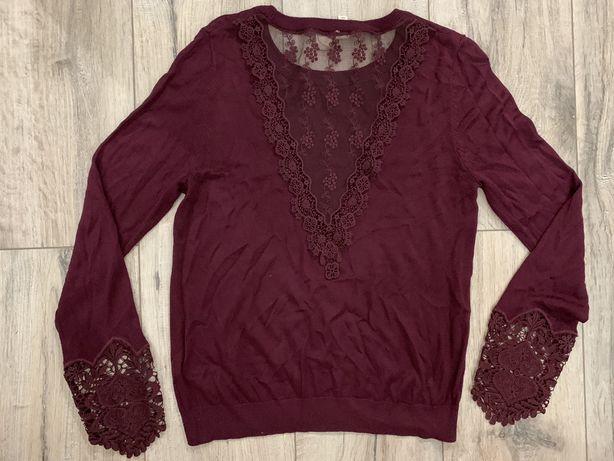Bordowy sweter z koronką H&M, rozm. S