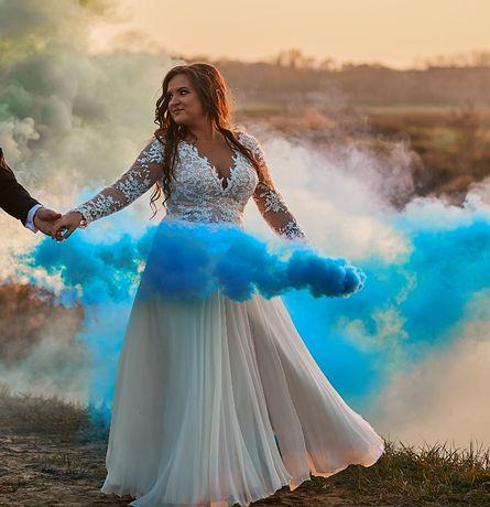 Suknia ślubna oryginalna Viola Piekut długi rękaw koronka jedwab
