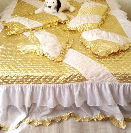 Декоративные золотые наволочки - 80х40см 2 штуки, 40х40см 2 штуки
