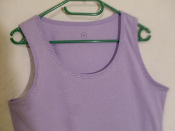 Bluzka top cotton duża srebrna nitka podkoszulka