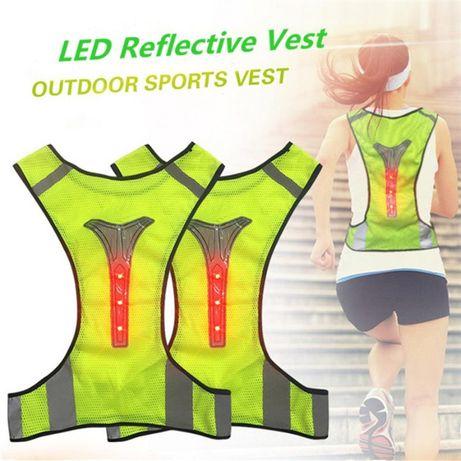 Colete Refletor com LEDs para Caminhadas/Running/Ciclismo/Btt - NOVO