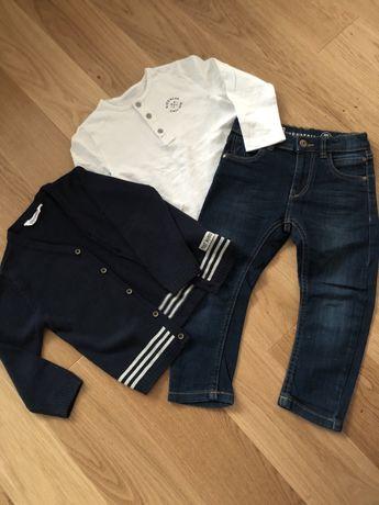 Zestaw sweterek, jeansy, koszulka r.98